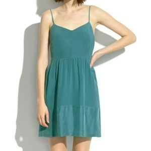 Madewell Silk Bordershine Cami Dress in Teal